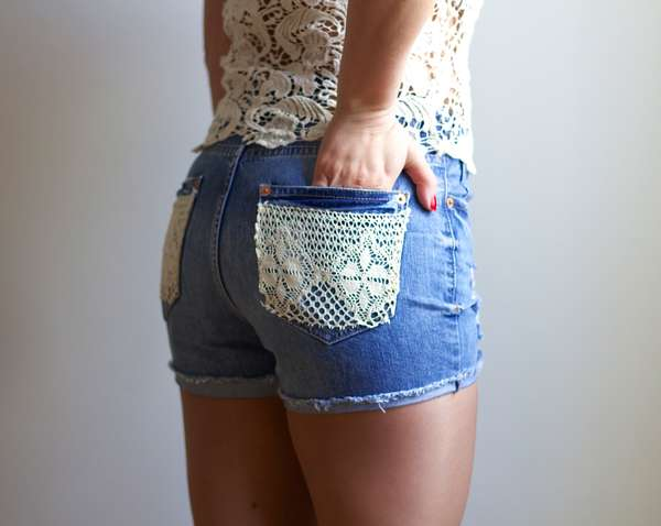 DIY Lace-Accented Shorts