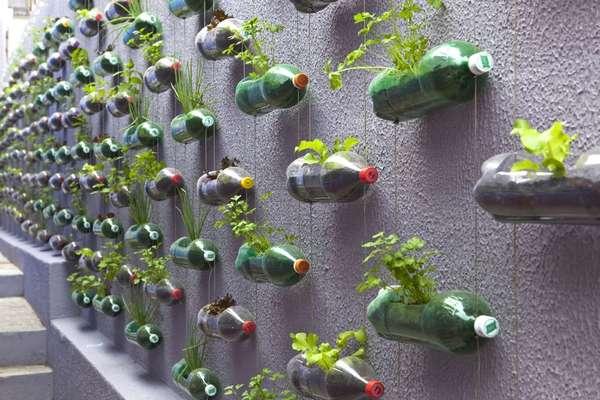 Beautiful Plastic Bottle Vertical Gardens