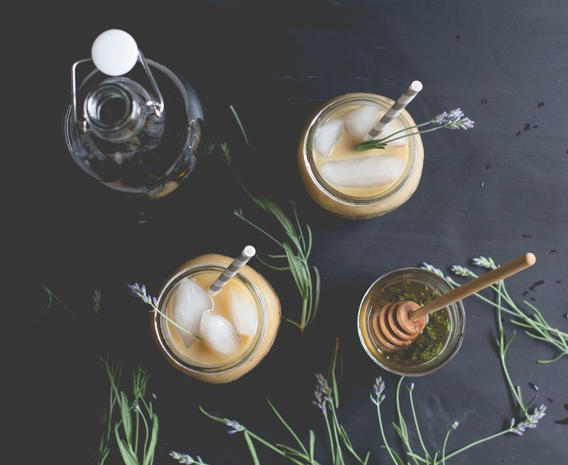 Lavender-Infused Iced Lattes