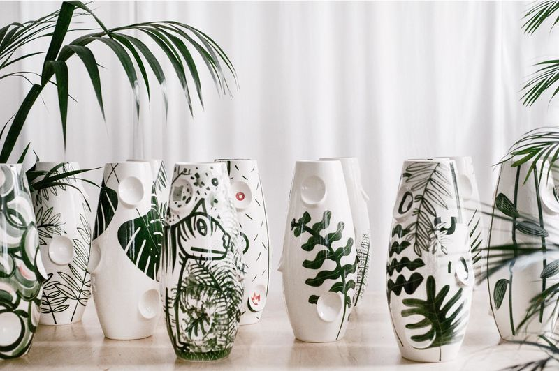 Hand-Painted Jungle Vases