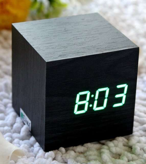 Deceptive wooden digital clocks led wooden clock for Cool nightstand clocks