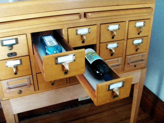DIY Literary Liquor Cabinets : library card catalogue