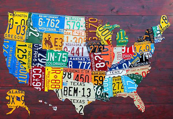 License Plate State Map.Statement State Sculptures License Plate Maps