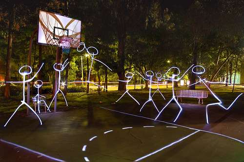 Athletic Light Graffiti Stickman Basketball Players