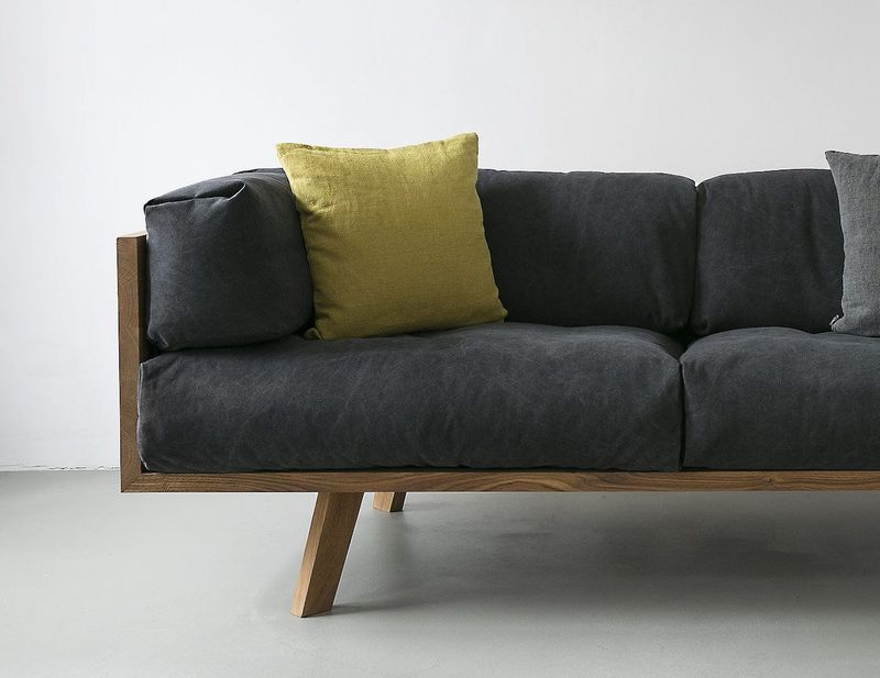 Naturalistic Cushion Couches : linen sofa