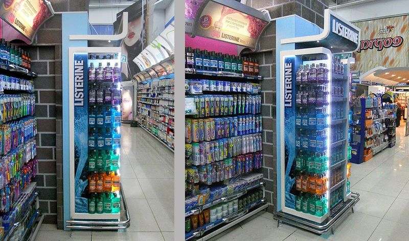 Color Coded Mouthwash Merchandising Listerine Retail Display