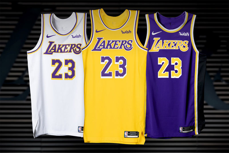 d71c72896bd Updated Golden Basketball Jerseys   Los Angeles Lakers