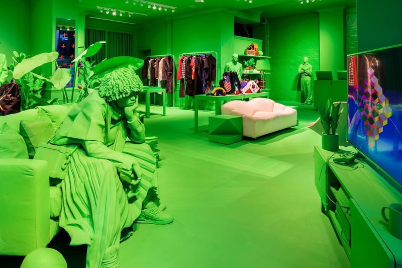 Neon Green Fashion Pop-Ups - The Louis Vuitton Pop-Up in New York City is Attention-captivating (TrendHunter.com)