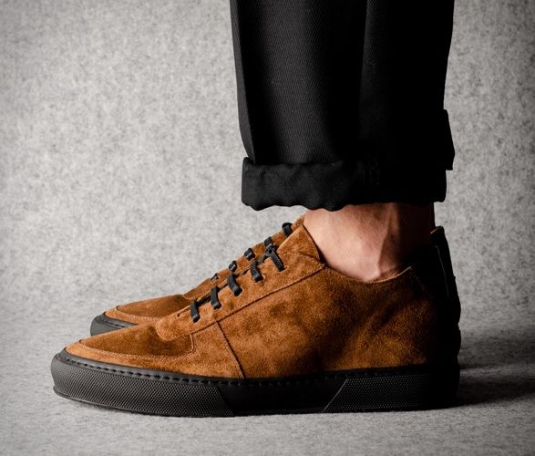 Minimalist Leather Construction Sneakers