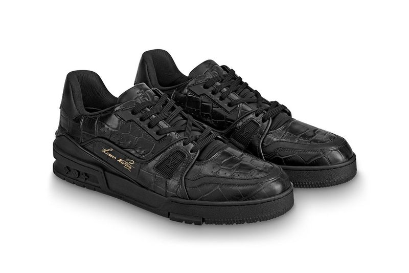 Glossy Alligator-Textured Sneakers