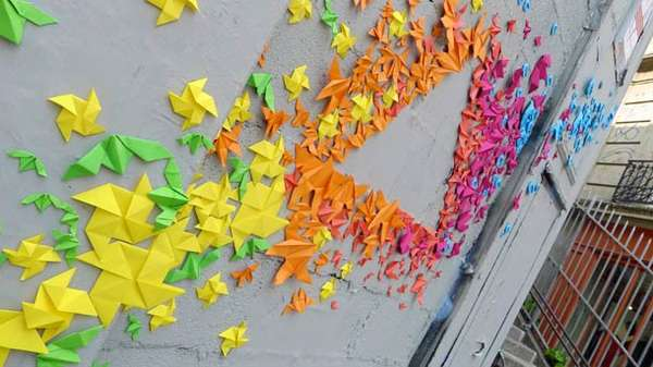 girly graffiti installations mademoiselle maurice rainbow