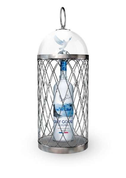 Caged Vodka Bottles
