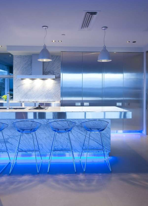 Blue-Lit Kitchens