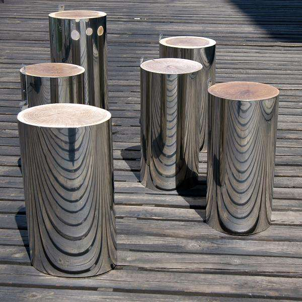 Mirrored Tree Trunks Malafor Trunks Serve As Stools And