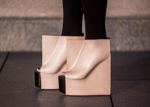 Embossed Cube Heels