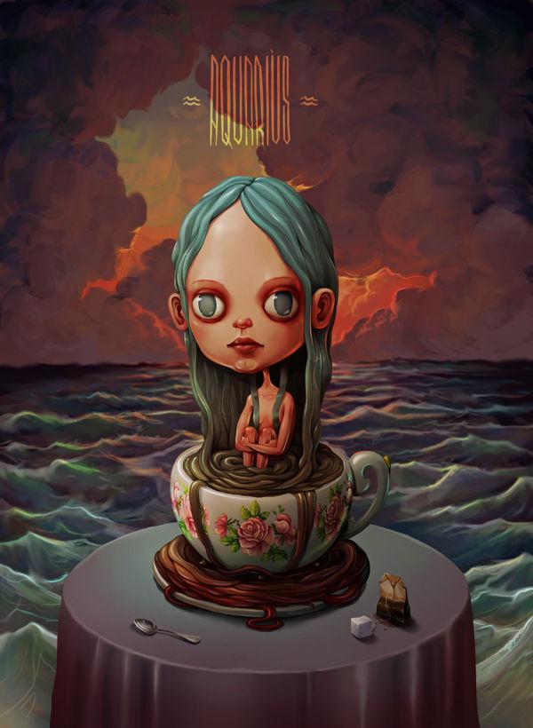 surrealistic zodiac illustrations   maria tiurina