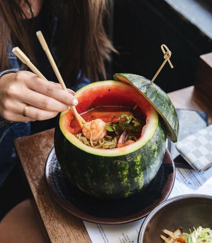 Noodle-Filled Watermelon Bowls