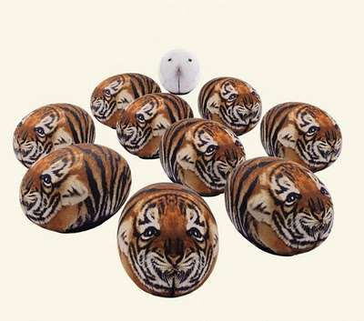 Tiger-Printed Poufs