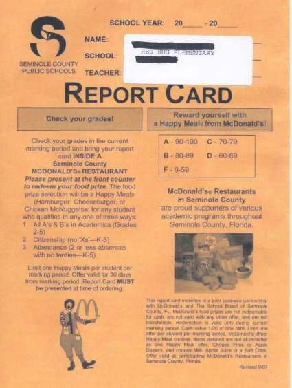 Advertising on Report Cards