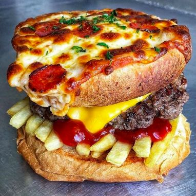 Meaty Pizza-Topped Burgers