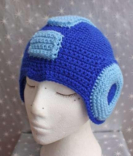 17f227b6f72 Geektastic Headgear  The Crocheted Mega Man Helmet is a Chick Magnet