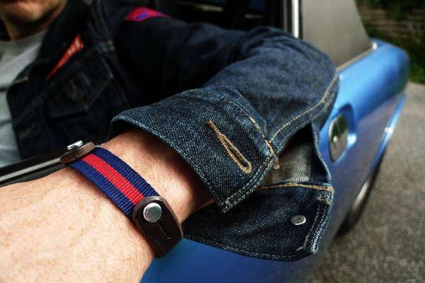Sporty Masculine Bracelets Mens Leather Bracelet Nato Strap