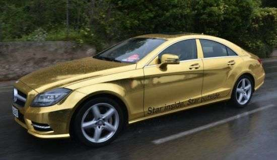 gold plated automobiles mercedes gold wrapped cars. Black Bedroom Furniture Sets. Home Design Ideas