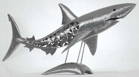 metal shark sculptures   metal shark sculpture