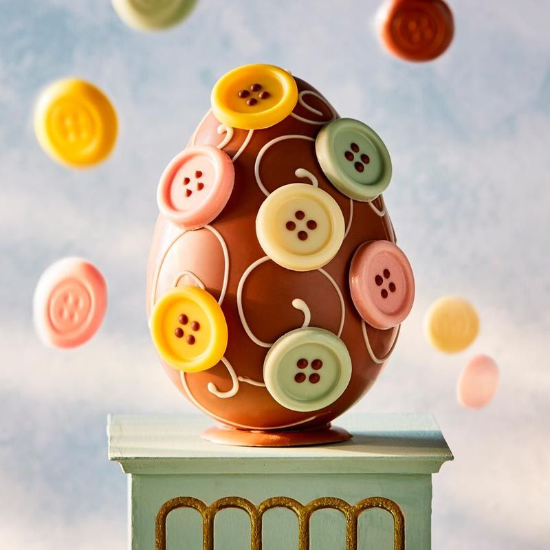 Button-Adorned Easter Eggs