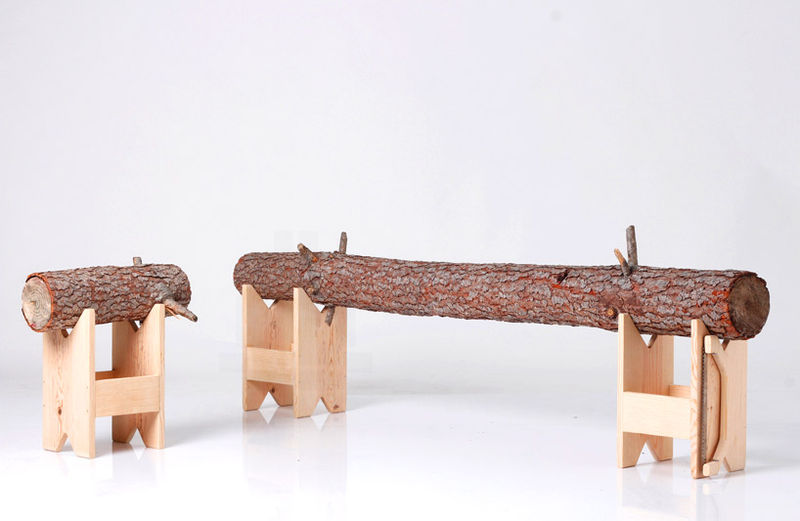 Wooden Log Benches