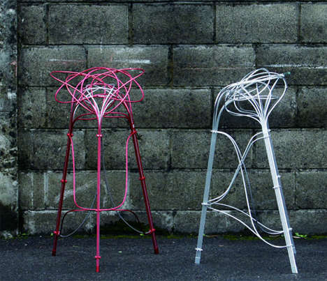 Metallic Wire Seating Modern Bar Stool Design