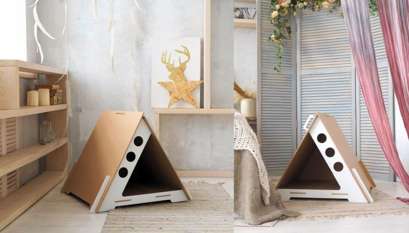 Geometric Flat-Pack Feline Houses