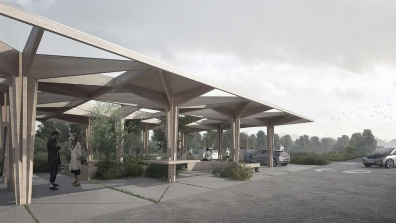 Tree-Shaped Car-Charging Stations