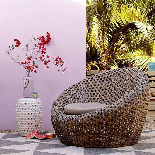 Cocooned Basket Weave Seating Montauk Nest Chair