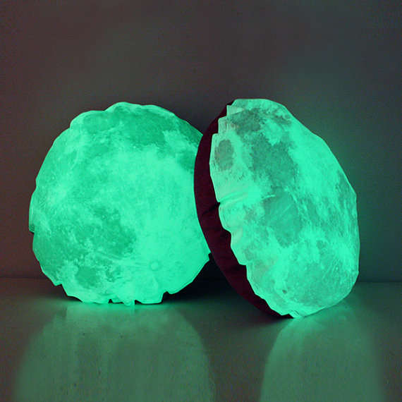 Illuminated Moon-Shaped Cushions
