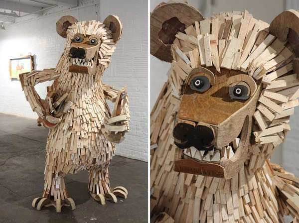 Salvaged Cartoonish Sculptures