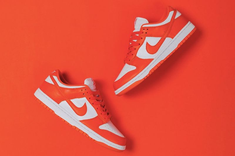 Orange-Accented Low-Top Sneakers