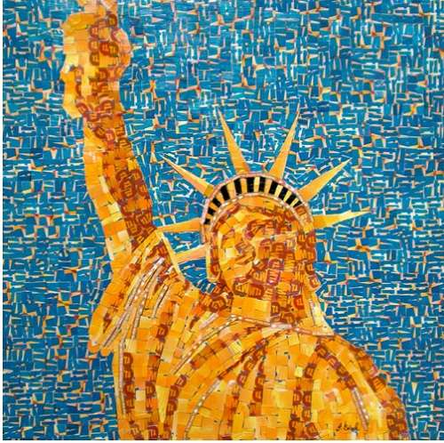 Recycled Transit Card Mosaics