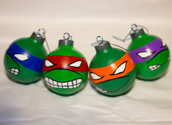 Retro Reptile Christmas Ornaments : Ninja Turtle Christmas ornaments