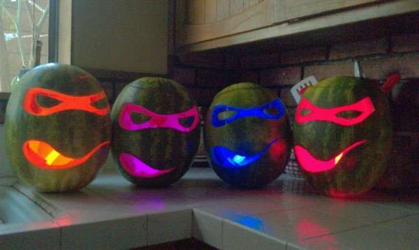Cartoony Halloween Melons Ninja Turtle Watermelon O Lanterns