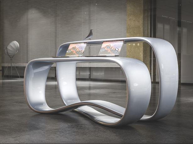 Dual-Surface Infinity Loop Desks
