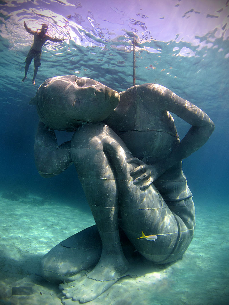 Massive Submerged Girl Sculptures
