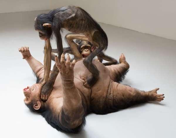 Violent Primate Sculptures
