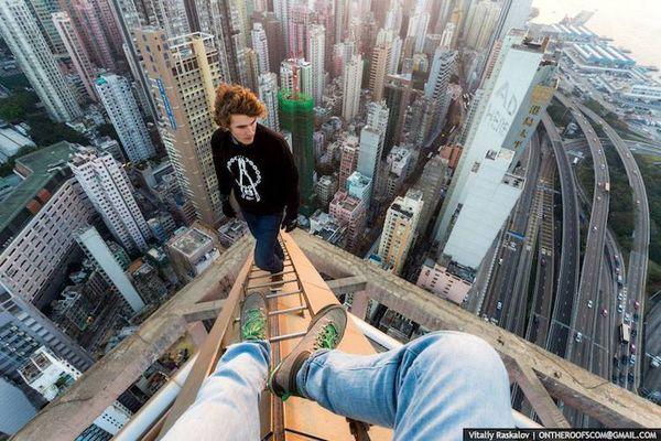 Risky Shanghai Rooftop Photography