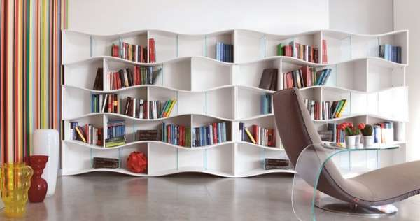 Simple undulating shelving onda modular bookcase - Echelle bibliotheque ikea ...