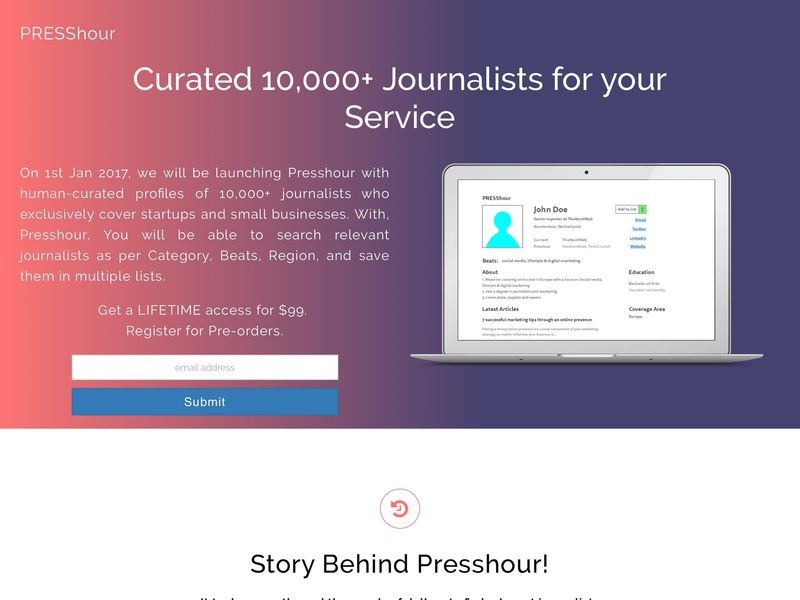 Startup Journalist Database Services