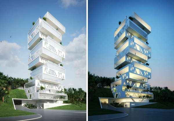 Jenga residences orange architects the cube for Apartment complex architectural plans