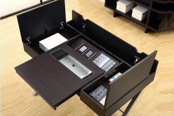 Gadget Charging Compartmental Desks Organized Work Station