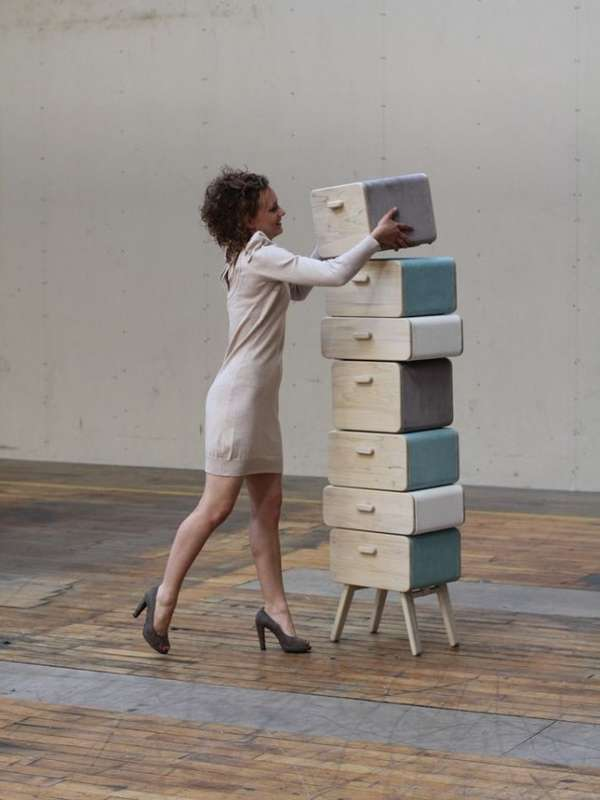 Stacked Stool Cabinets