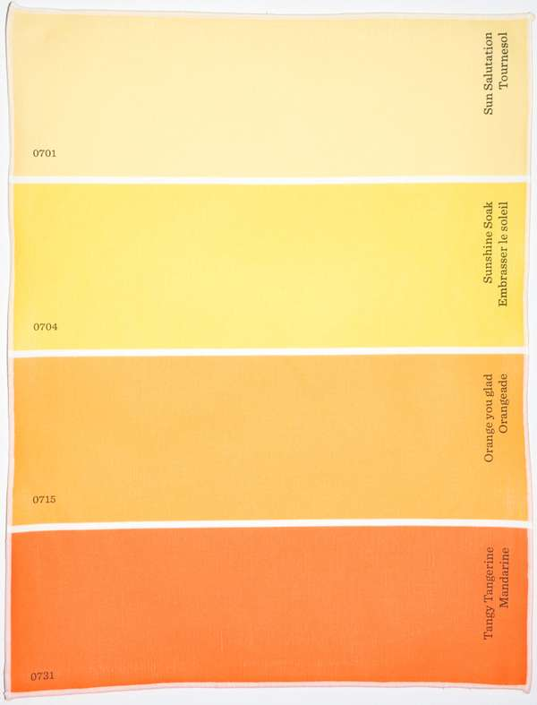 Hue sample place settings paint chip placemats Orange paint samples